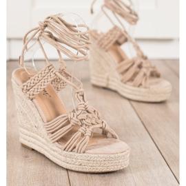 Seastar Sidotut sandaalit korkealla kiilalla beige 2