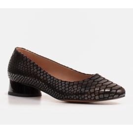 Marco Shoes Käärmeennahkaiset baleriinat, joissa on pyöreä kantapää musta 1