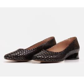 Marco Shoes Käärmeennahkaiset baleriinat, joissa on pyöreä kantapää musta 3
