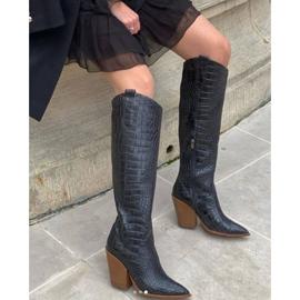 Marco Shoes Naisten cowboy-saappaat, krokokuvioiset musta 8