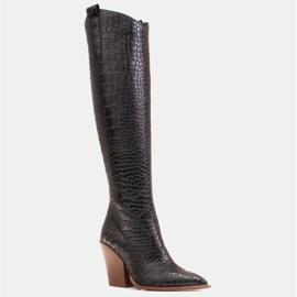 Marco Shoes Naisten cowboy-saappaat, krokokuvioiset musta 1