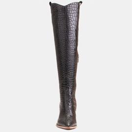 Marco Shoes Naisten cowboy-saappaat, krokokuvioiset musta 2