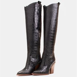 Marco Shoes Naisten cowboy-saappaat, krokokuvioiset musta 4