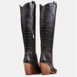 Marco Shoes Naisten cowboy-saappaat, krokokuvioiset musta 5