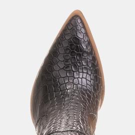 Marco Shoes Naisten cowboy-saappaat, krokokuvioiset musta 7