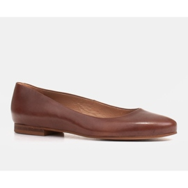 Marco Shoes Ballerinat ruskeasta nahasta, käsin kiillotetut 1