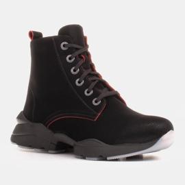 Marco Shoes Sporttiset naisten nupukkikengät, joissa on punaiset insertit musta 6