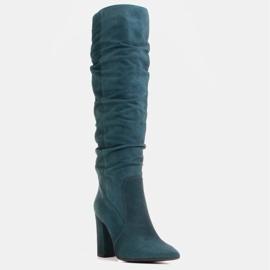 Marco Shoes Vihreät korkeat, rypistyneet saappaat, jotka on valmistettu luonnon mokasta 1