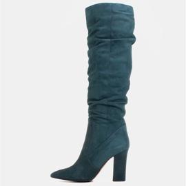 Marco Shoes Vihreät korkeat, rypistyneet saappaat, jotka on valmistettu luonnon mokasta 2