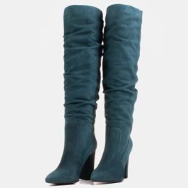 Marco Shoes Vihreät korkeat, rypistyneet saappaat, jotka on valmistettu luonnon mokasta 5