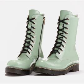 Marco Shoes Korkeat nilkkurit, läpikuultavaan pohjaan sidotut saappaat vihreä 4
