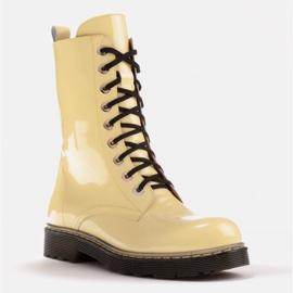 Marco Shoes Korkeat nilkkurit, läpikuultavaan pohjaan sidotut saappaat keltainen 1