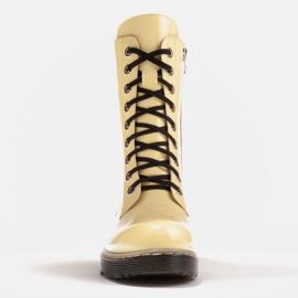 Marco Shoes Korkeat nilkkurit, läpikuultavaan pohjaan sidotut saappaat keltainen 2