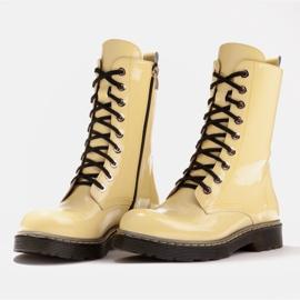Marco Shoes Korkeat nilkkurit, läpikuultavaan pohjaan sidotut saappaat keltainen 4