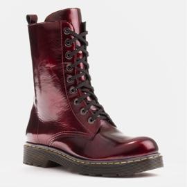 Marco Shoes Korkeat nilkkurit, läpikuultavaan pohjaan sidotut saappaat punainen 1